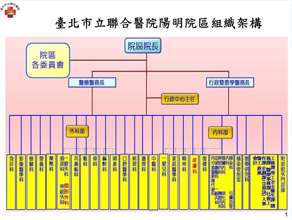 陽明院區組織架構圖