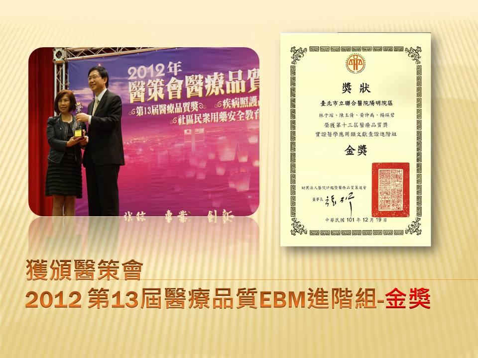 101年第13屆『醫療品質- EBM文獻查證類進階組』金獎照片