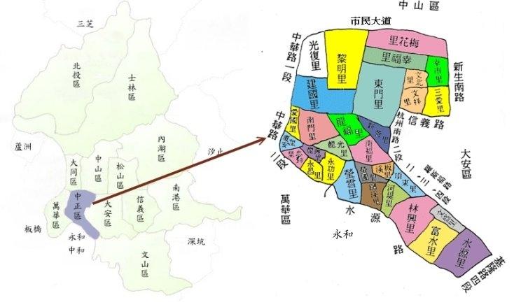 中正區共有31個里,地理位置位於臺北市西南側