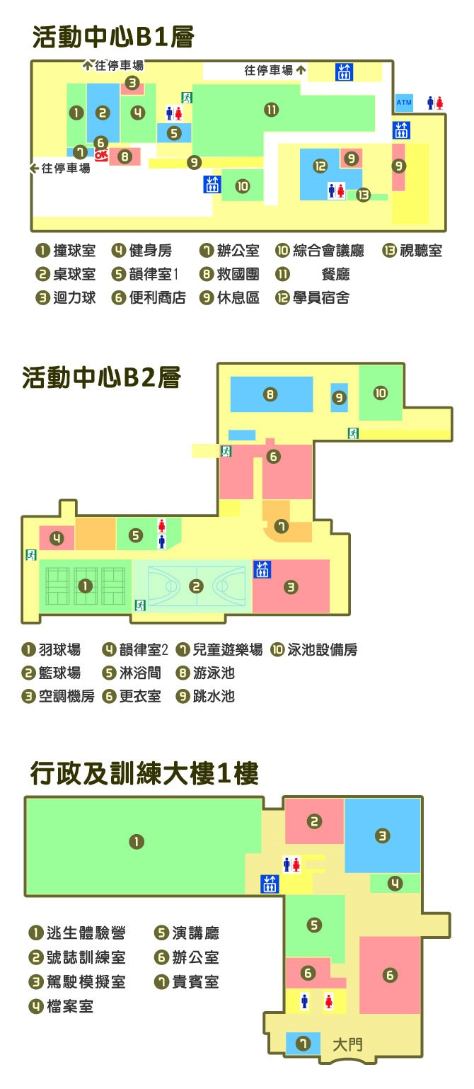 捷運北投會館各樓層(活動中心B1層、B2層與行政及訓練大樓1樓)平面圖