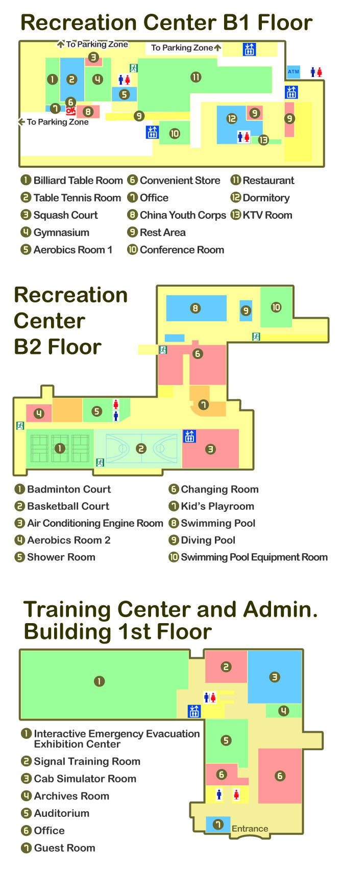 Layout (Including Recreation Center B1/B2 Floor and Training Center and Admin. Building 1st Floor)
