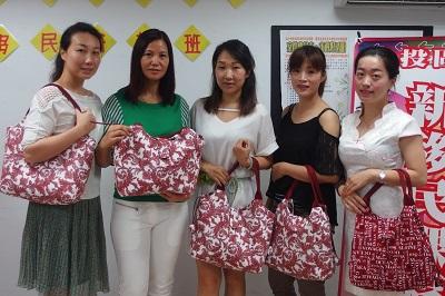 Showcasing a patchwork tote bag