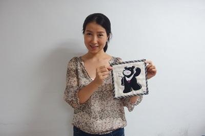 Showcasing Summer Universiade mascot Bravo the Bear patchwork