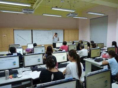 Teacher teaching about software