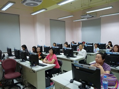 Students listening intently during class