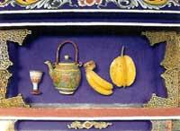 博古柱堵:杯、壺、香蕉、楊桃