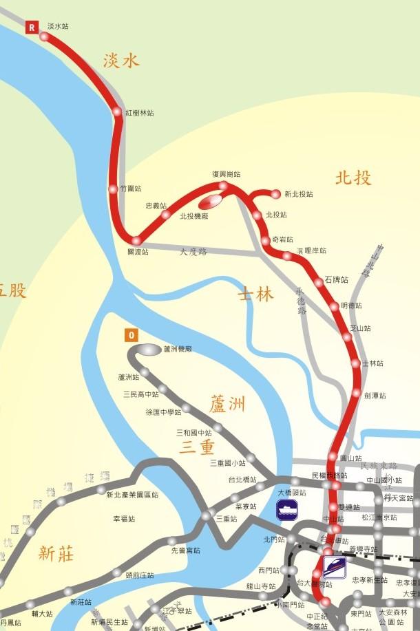 淡水線路網圖