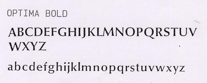 英文Optima Bold字體示意圖