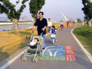 Competition on riverside cycling path