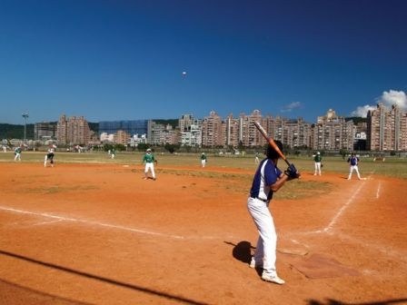 Professional Baseball Ground in a Riverside Park