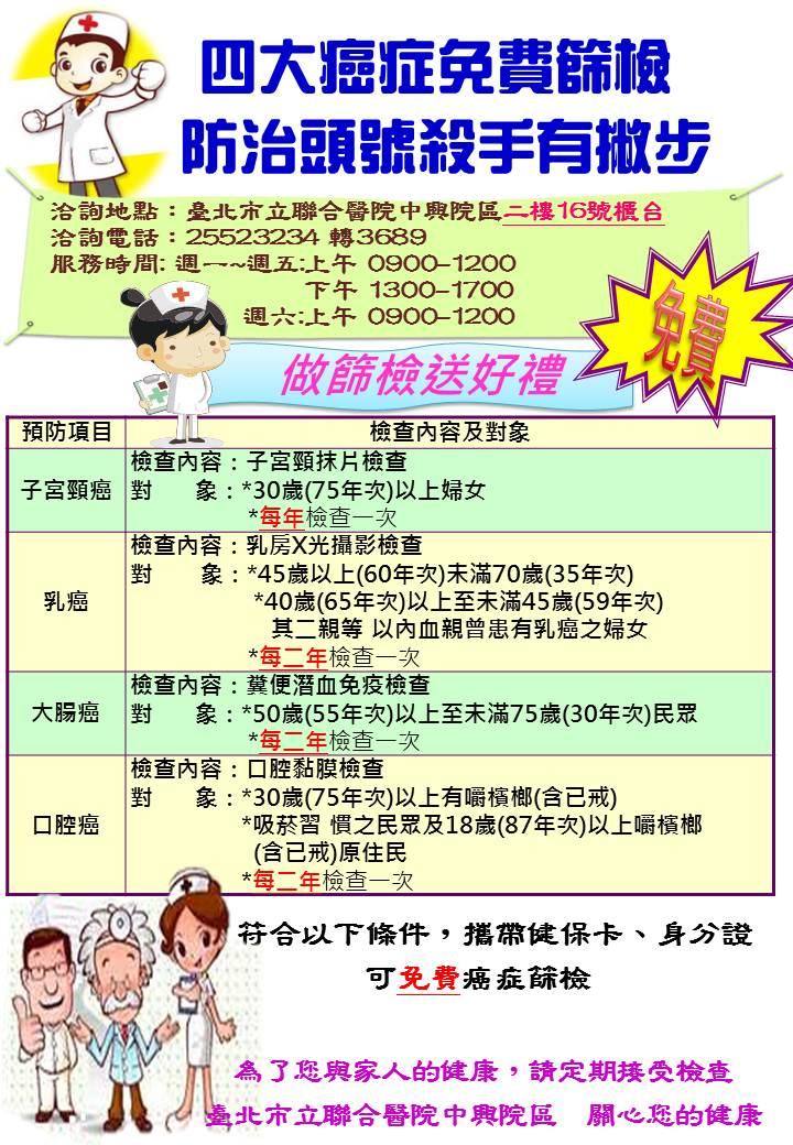四大癌症免費篩檢(標圖)