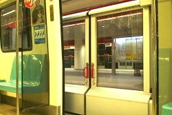When train doors open, automatic platform doors bar exit.