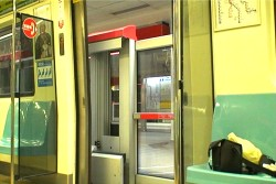 When train doors open, emergency gate bars exit.