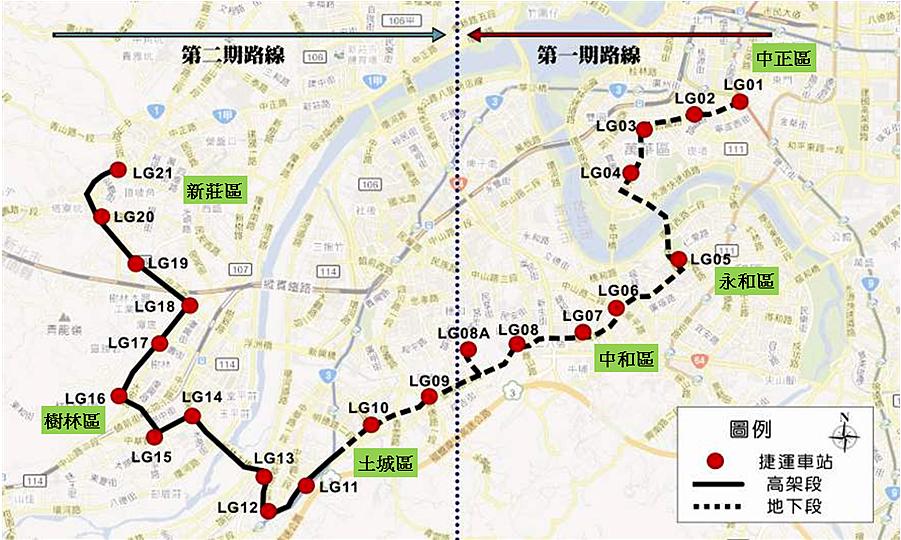 捷運萬大-中和-樹林線路線示意圖