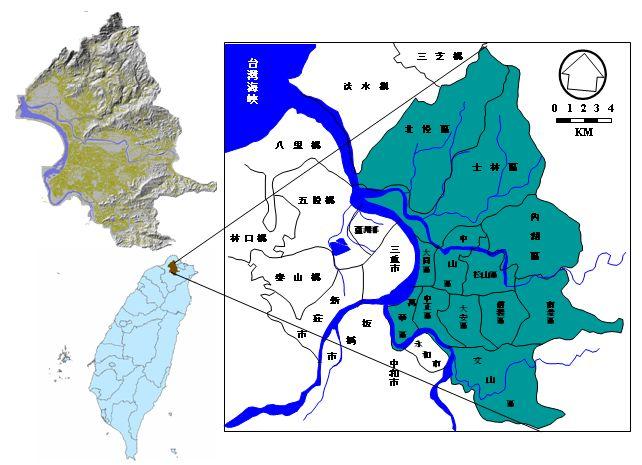 臺北位置、地理及地形圖