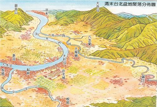 清代臺北盆地聚落分布圖