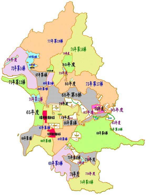 臺北市歷年地籍圖重測區分佈圖