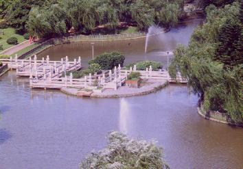 zigzag bridge and fountain