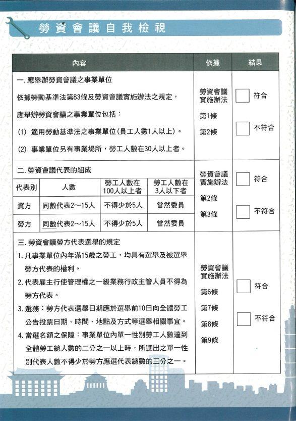 事業單位勞資會議自我檢核表第一頁