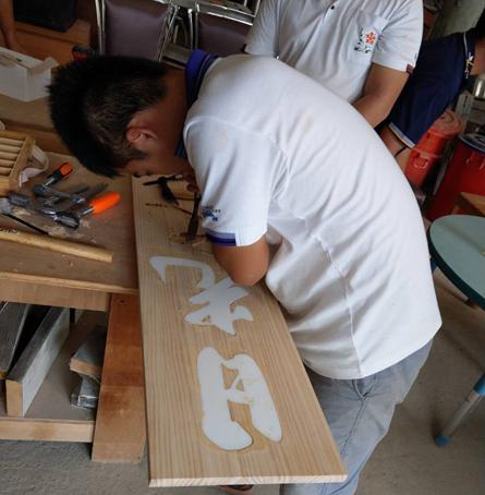 少年們在木工工廠製作新的招牌