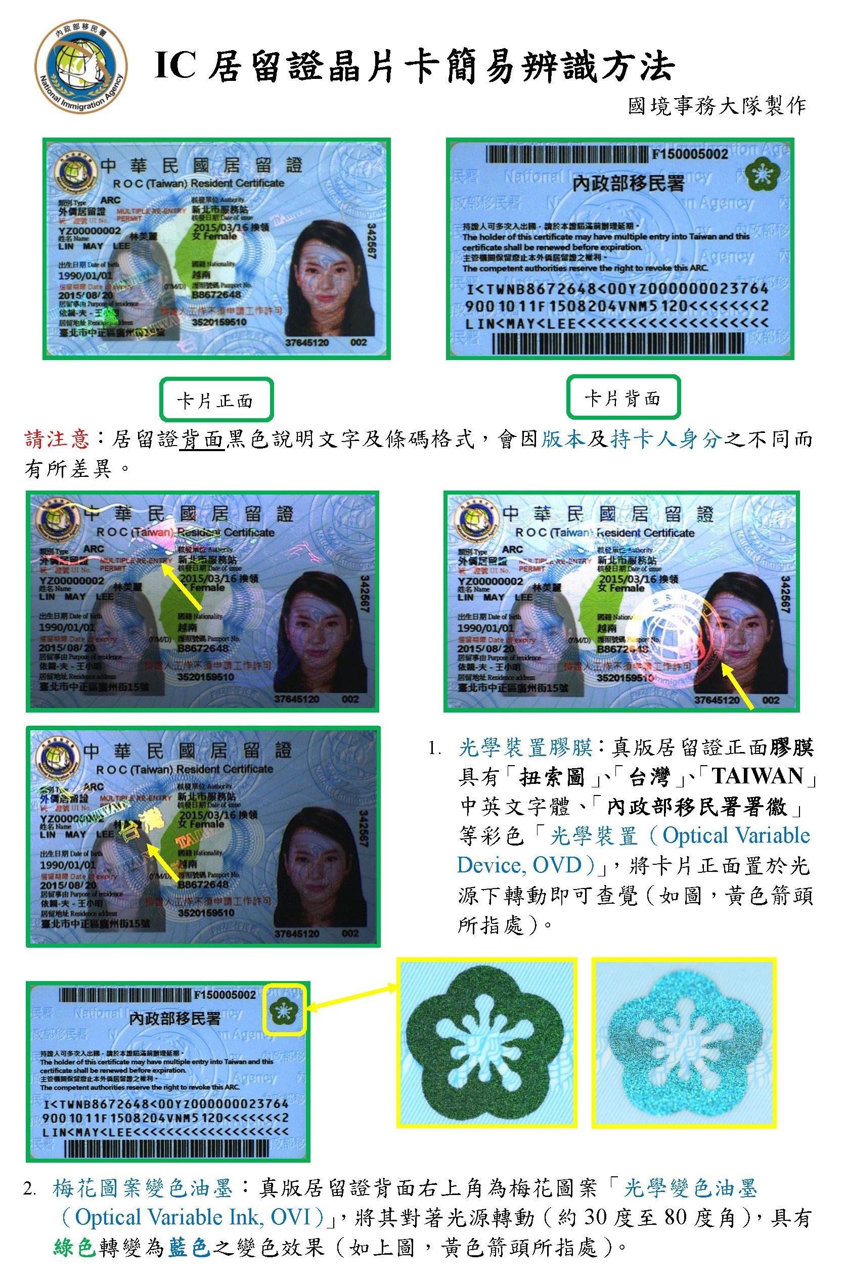 IC居留證晶片卡簡易辨識方法:(請注意居留證背面黑色說明文字及條碼格式。)1、確認居留證是否有光學裝置膠膜,且有「Taiwan」、「台灣」字樣。2、確認居留證梅花圖案油墨,於光源轉動,是否有綠色轉變藍色的效果。