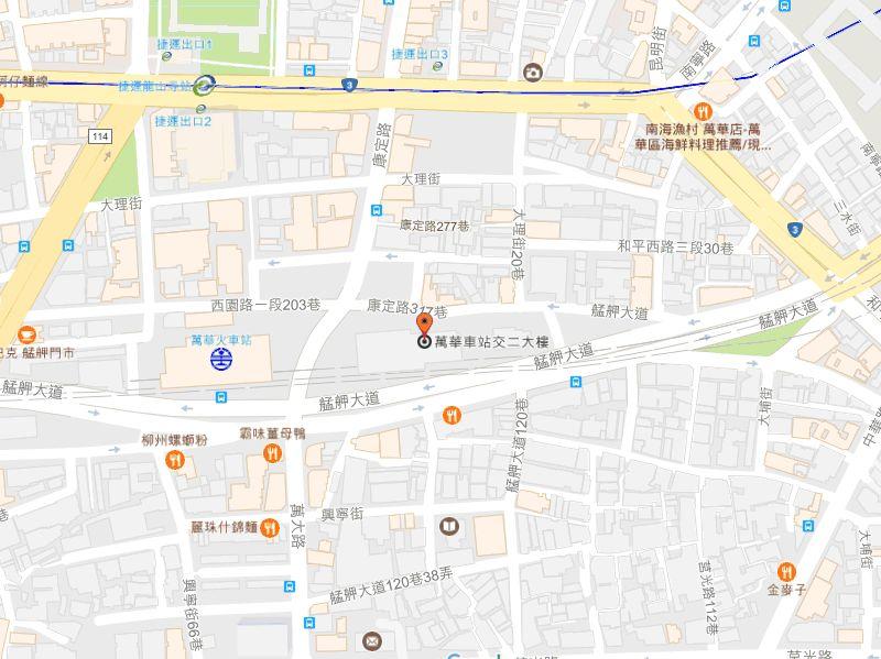 臺北市政府勞動局萬華車站大樓第二辦公室地圖