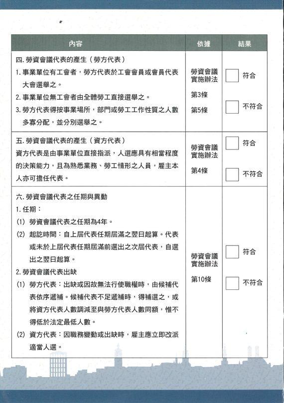 事業單位勞資會議自我檢核表第二頁