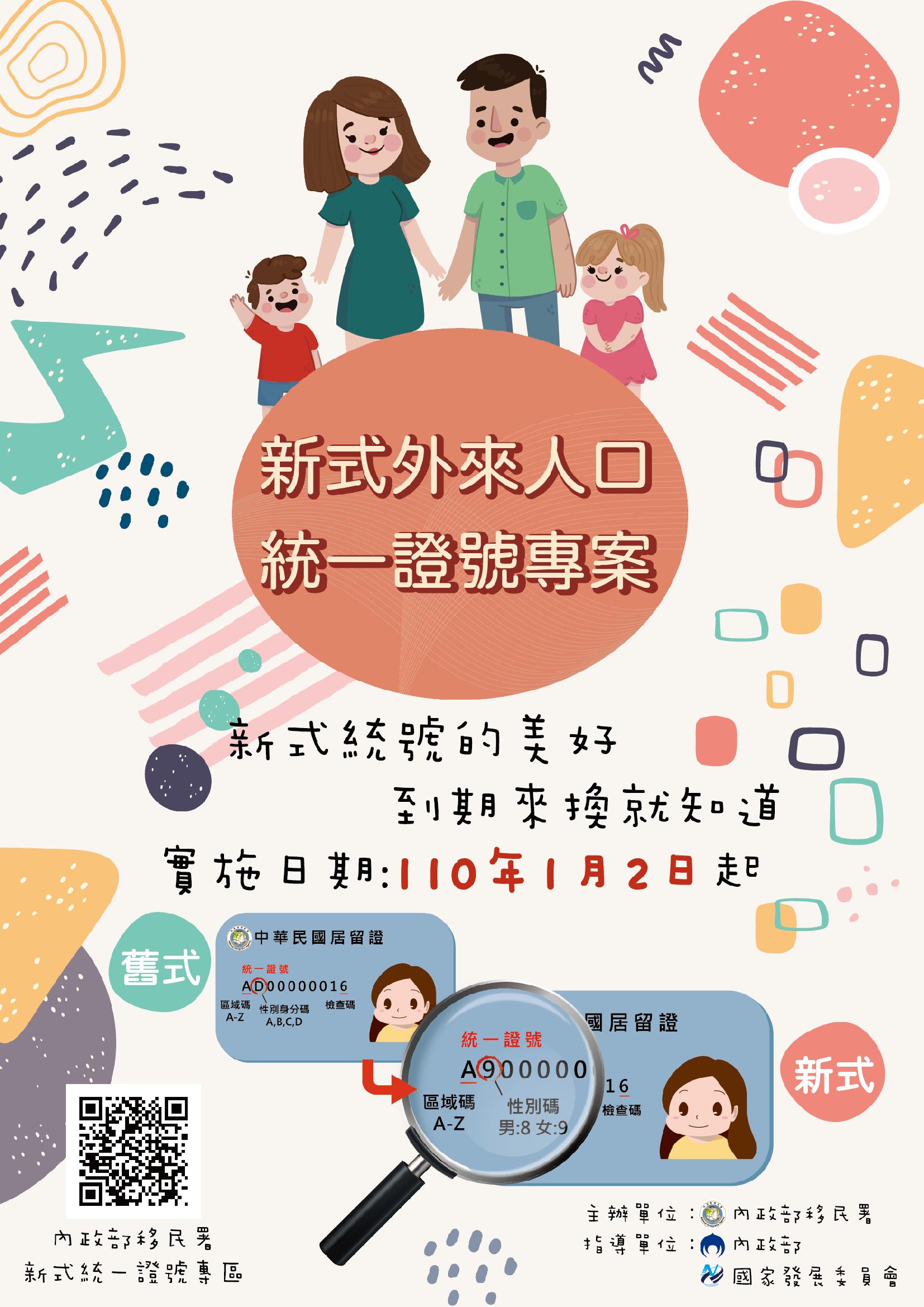 新式外來人口統一證號專案宣傳海報