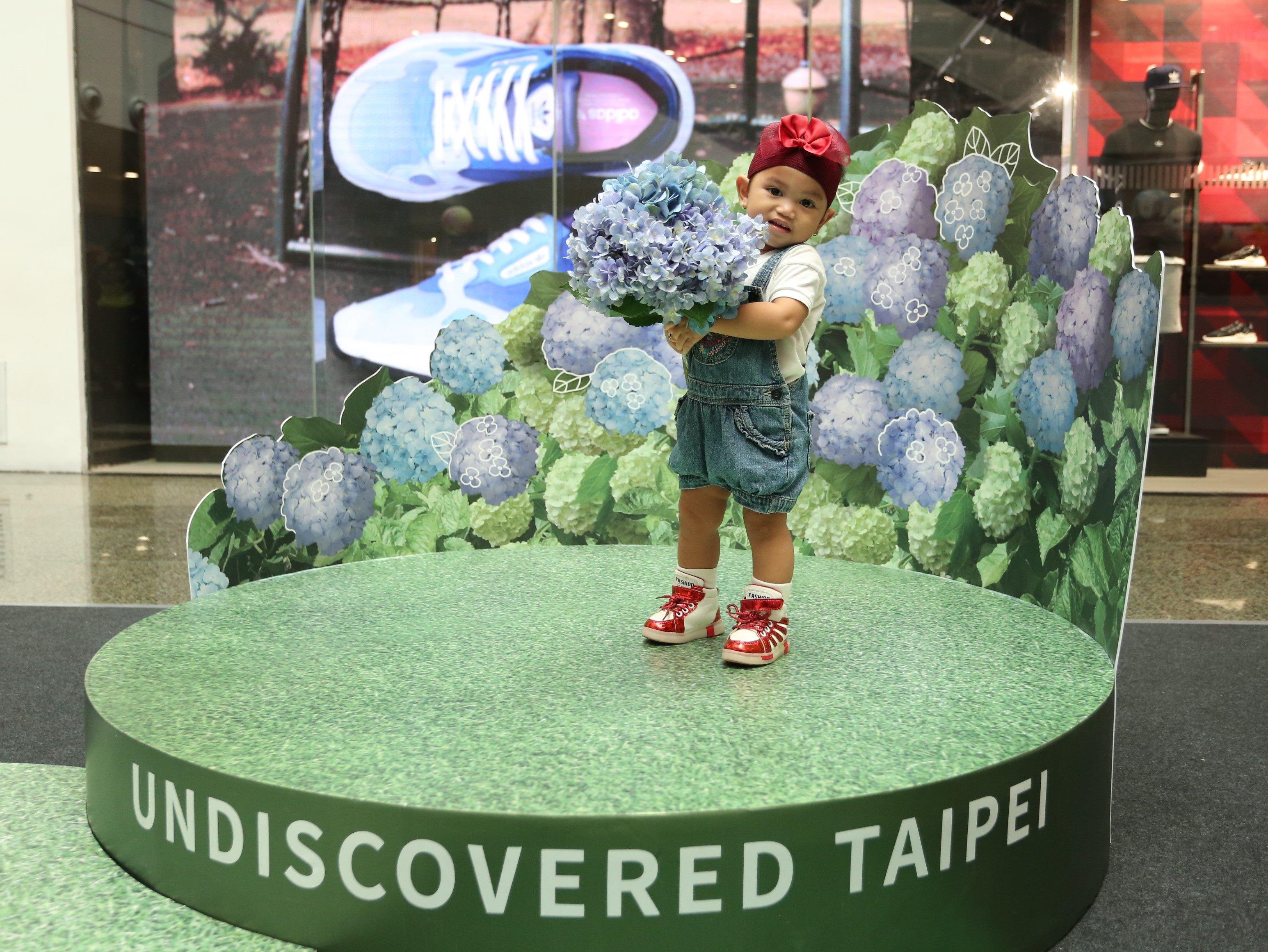菲律賓小朋友在繡球花體驗區前拍照,模樣可愛