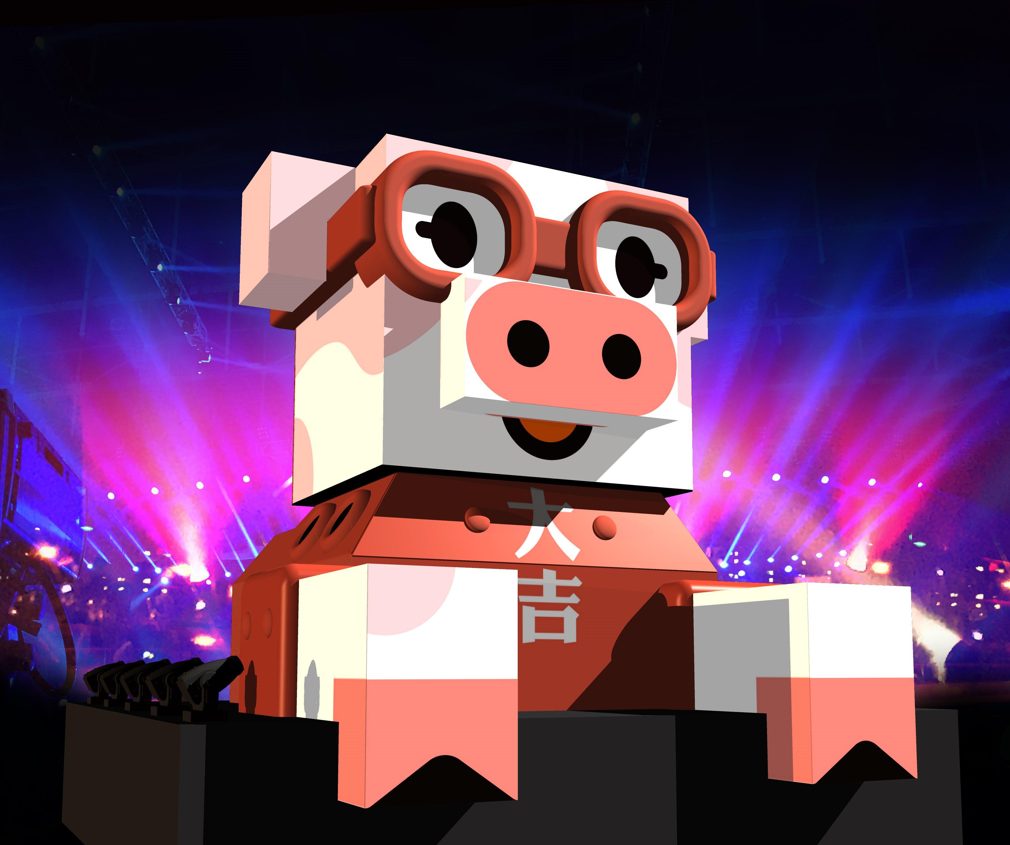 佇立在西門紅樓前的「百變豬寶亮晶晶」,會隨著音樂變換造型,帶領每位朋友心一起點亮夢想點亮心。