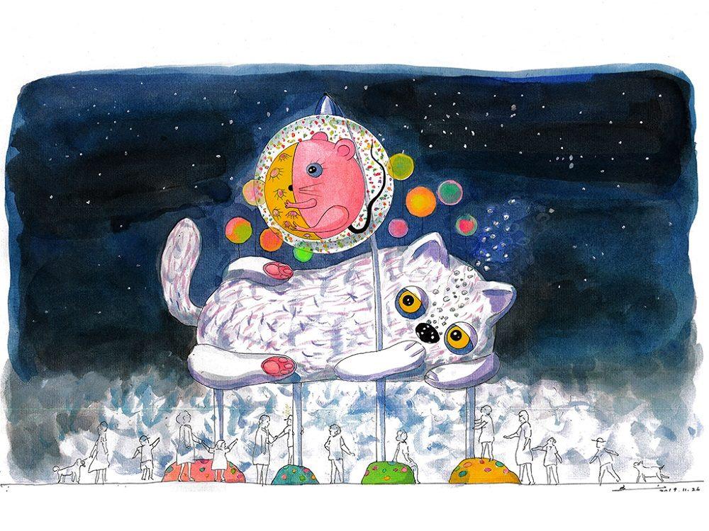 西區主燈「躲貓貓」有別於往年以生肖為主的形式,以童話般可愛造型,增添歡樂的藝術氣息,尤其主燈作品下方更可讓民眾進入,感受光霧交織的空間體驗。