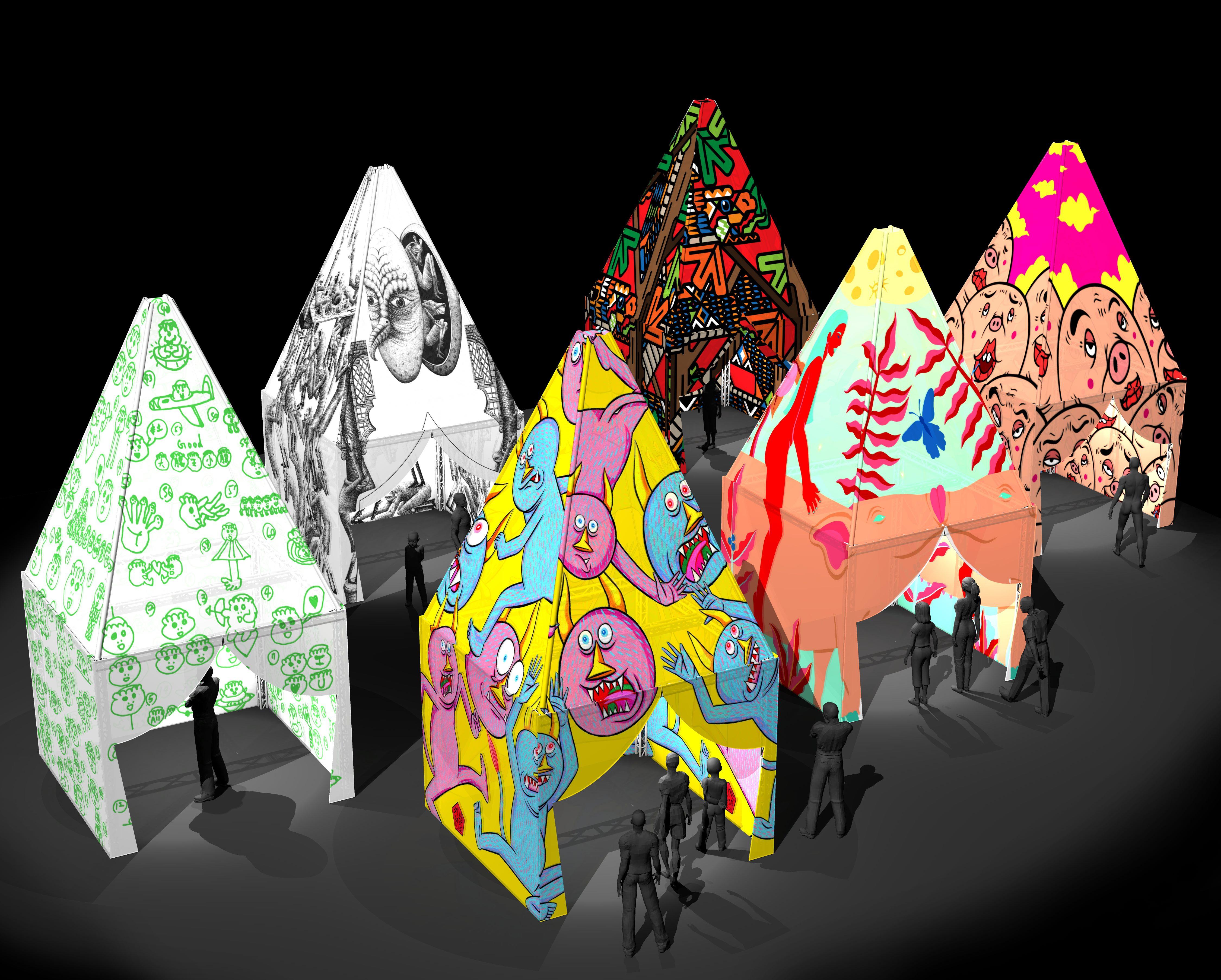 由來自世界各國的塗鴉高手,繪出一幅幅有趣的塗鴉帳篷,「塗鴉夢想家的基地」在西門町街頭開創一個嶄新的展覽空間。