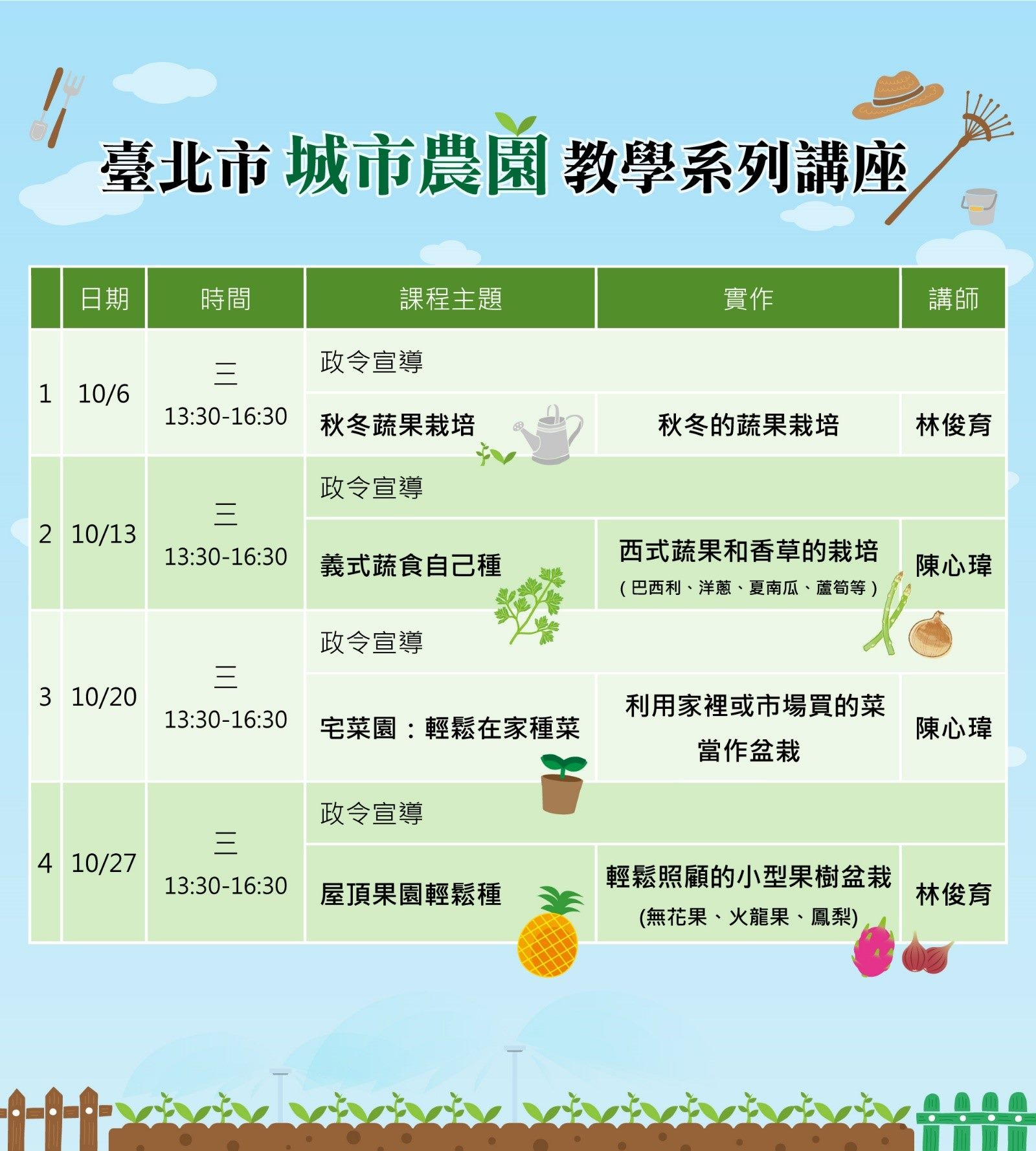 臺北市城市農園教學講座課程表