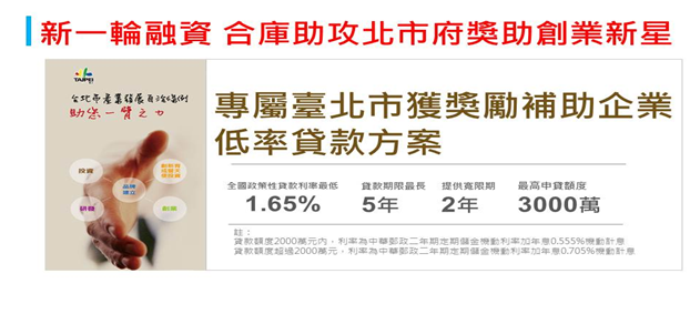臺北市產業發展獎勵補助企業優惠融資貸款專案