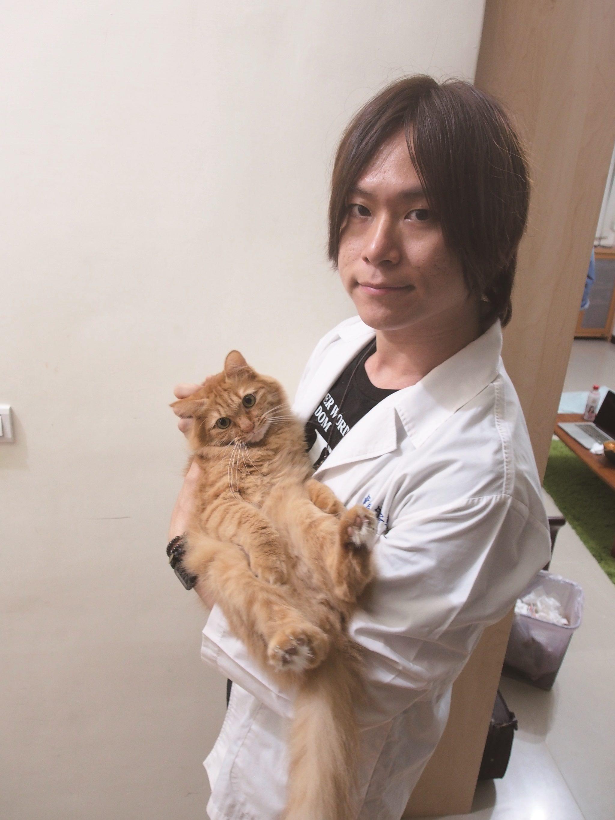 貓咪行為學專家林子軒獸醫師在貓犬學校貓咪課程中教導學員如何更懂貓咪。(林子軒提供)