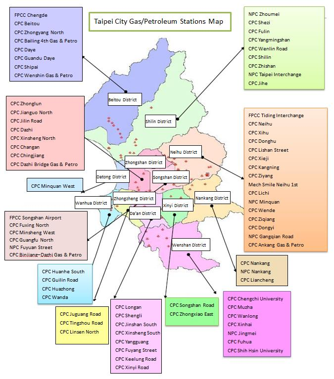 Taipei City GasPetroleum Stations Map