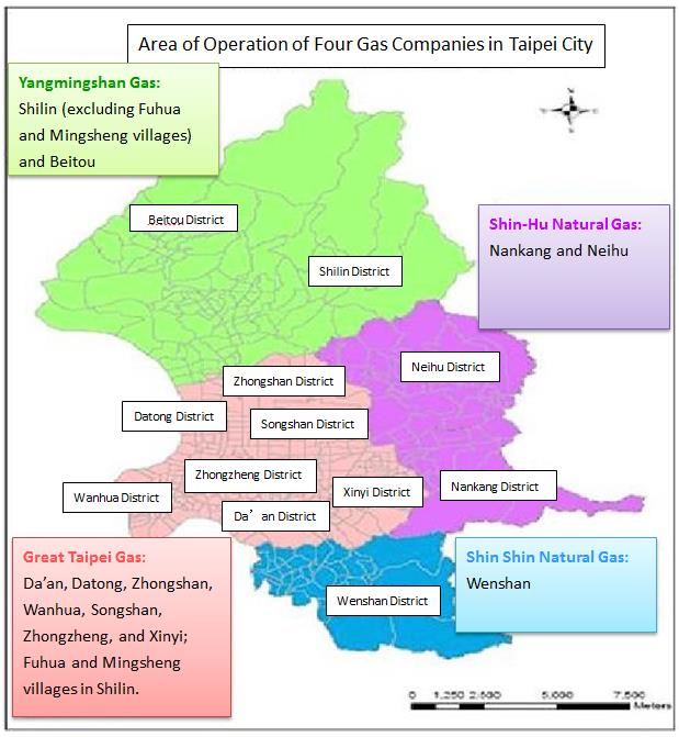 Area of Operation of Four Gas Companies in Taipei City