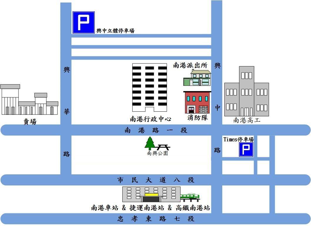 行政中心周遭停車場圖