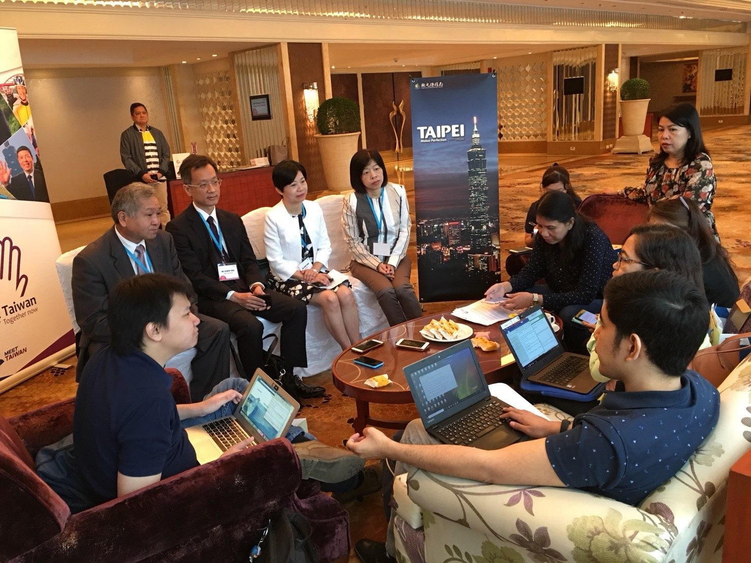 The Department of Information and Tourism, Taipei City Government participates in Southeast Asia MICE promoting event in Manila, being interviewed by local press with the representatives of BFT and TAITRA after the event.