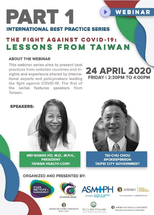 "Poster of the Webinar ""The Fight Against COVID-19: Lessons from Taiwan""."
