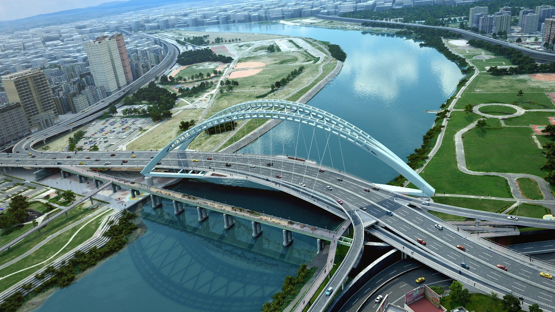 中正橋改建工程完工模擬示意圖1