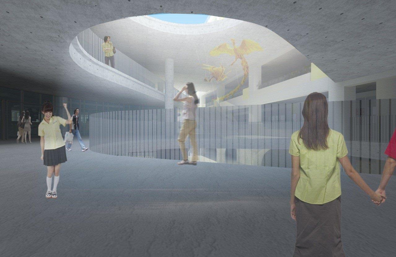 臺北市立景美女中綜合大樓新建工程3F半戶外空間示意圖