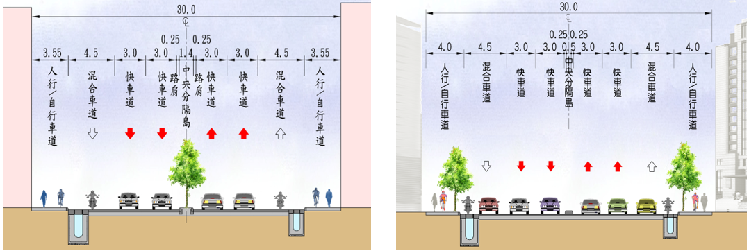 重慶南路街道標準斷面圖