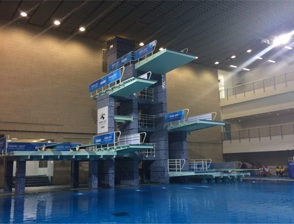 The photo of the diving platform at the University of Taipei – Shih-hsin Hall after its completion