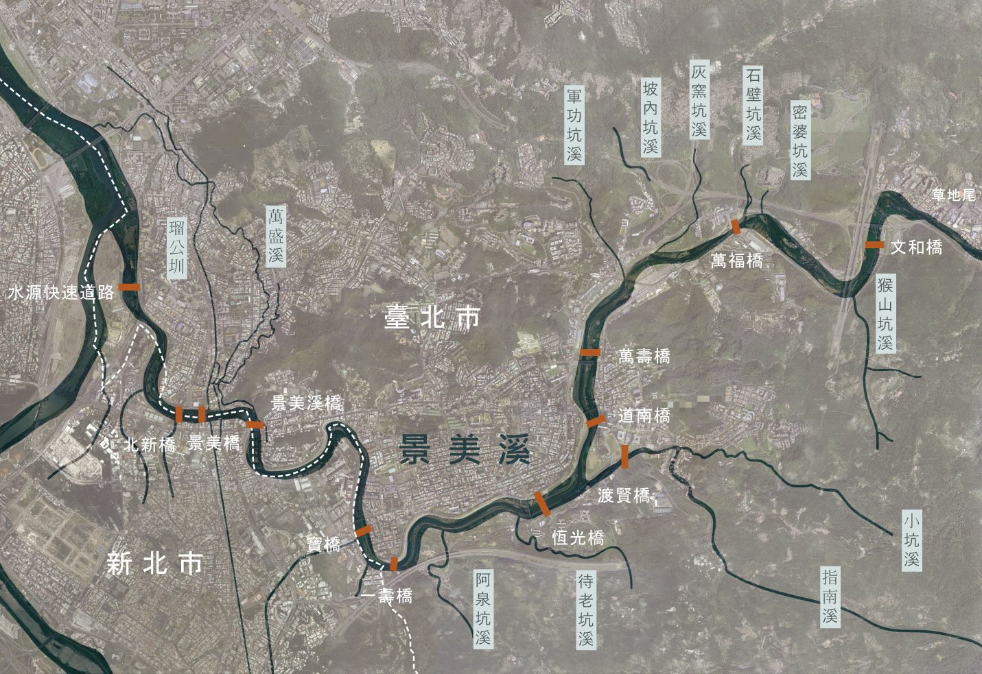 景美溪本市轄內流域範圍圖