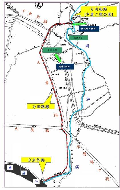 圖6-磺港溪分洪路線平面圖