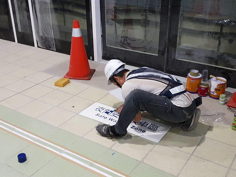 月台層夜間婦女候車區標線施作