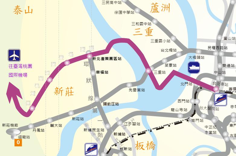 桃園國際機場線工程範圍路線圖