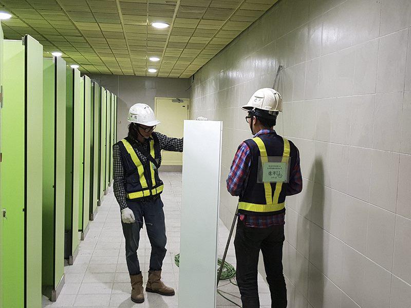 穿堂層廁所配件包板安裝
