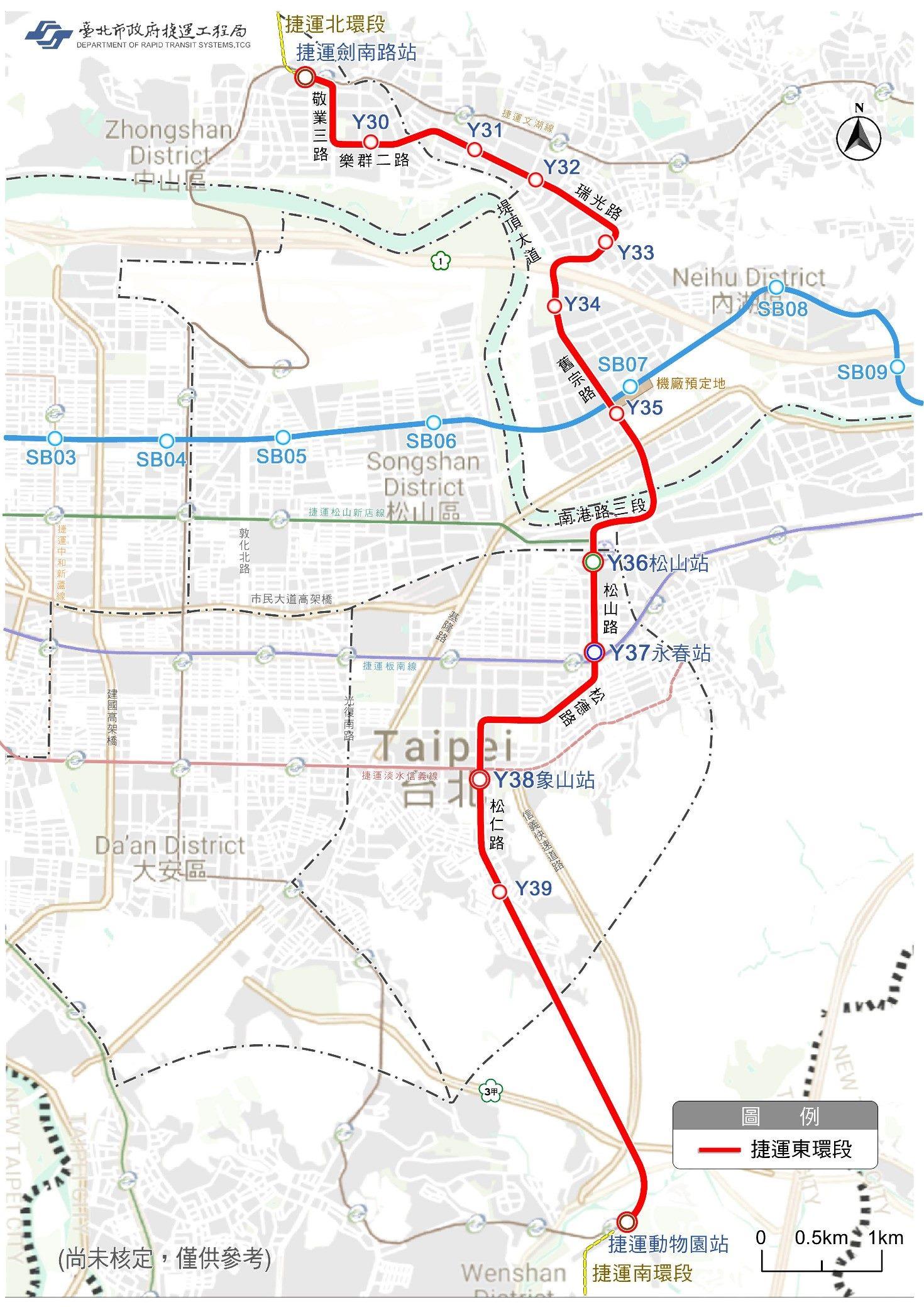 環狀線東環段規劃路線替選方案示意圖